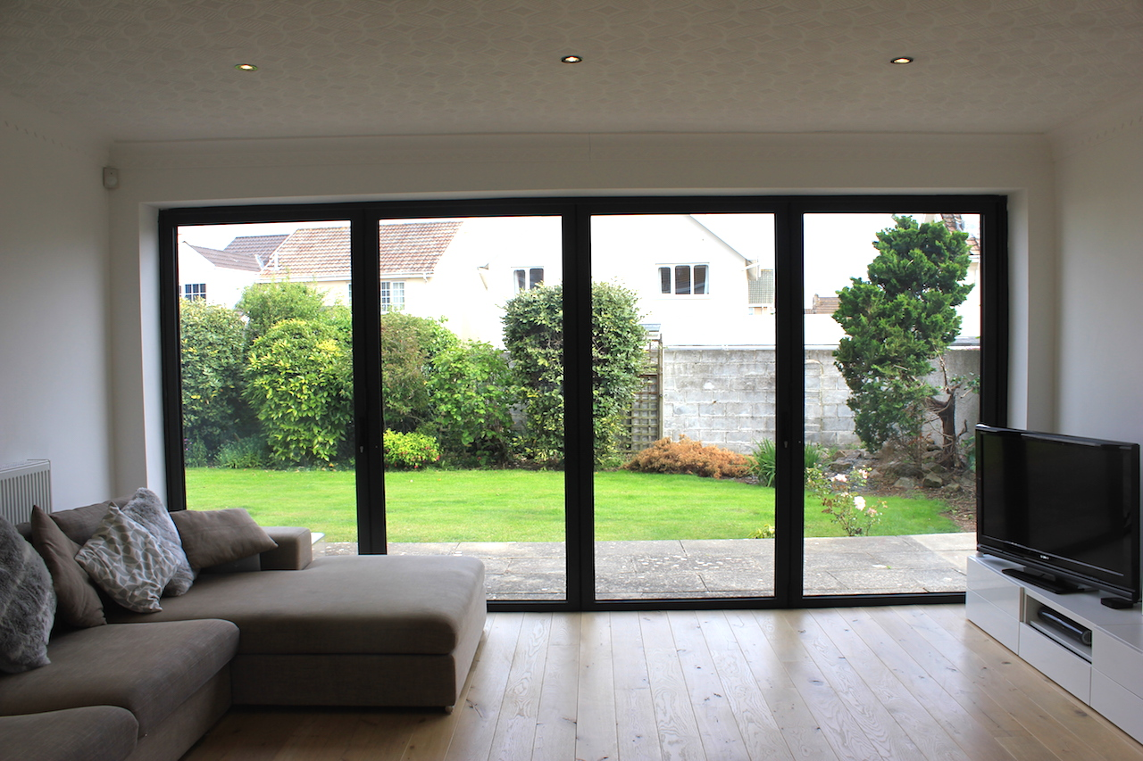 Black Accordion Doors : Aluminium bi folding doors cardiff folds welsh